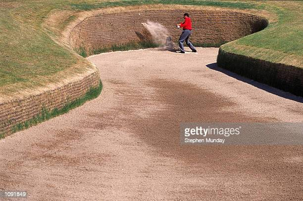 Jose Manuel Carriles of Spain in a bunker during the 2000 British Open on the Old Course at St Andrews Links Scotland Mandatory Credit Stephen Munday...