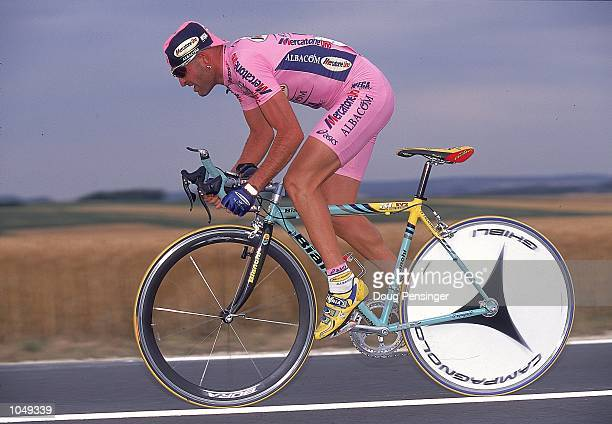 Marco Pantani of Italy and MercatoneUno team rides in Stage 1 Time Trial of the 2000 Tour De France in Futuroscope France Mandatory Credit Doug...