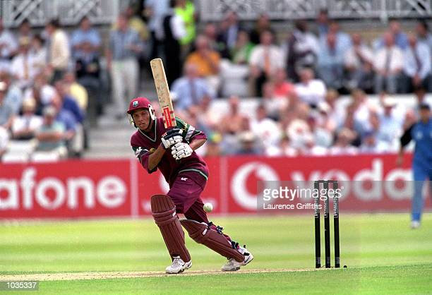 Ramnaresh Sarwan of West Indies in action during his innings of 20 at the Natwest Series One Day International against England at Trent Bridge in...