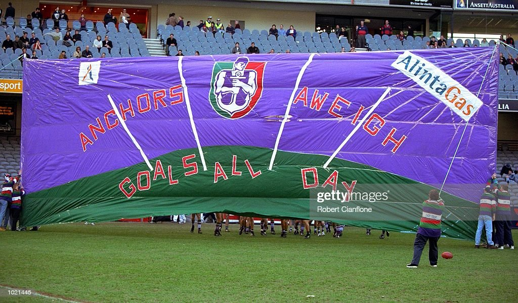 The Fremantle banner before the match between the Melbourne Demons and the Fremantle Dockers, during round 20 of the AFL season played at Colonial Stadium in Melbourne, Australia. Melbourne 25.10 (160) defeated Fremantle 11.11 (77). Mandatory Credit: Robert Cianflone/ALLSPORT