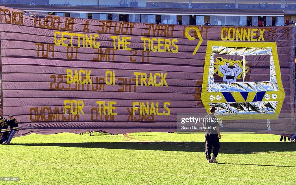 The Richmond banner before the match between the Richmond Tigers and the St Kilda Saints, during round 20 of the AFL season played at the Melbourne Cricket Ground in Melbourne, Australia. Richmond 18.11 (119) defeated St Kilda 12.7 (79). Mandatory Credit: Sean Garnsworthy/ALLSPORT