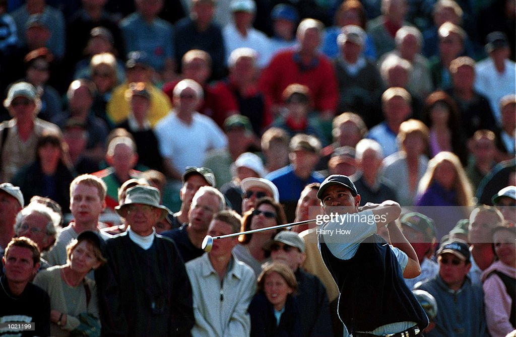 Tiger Woods of the USA drives off the 17th tee during the third round of the British Open Golf Championships at the Old Course, St Andrews, Scotland. Mandatory Credit: Harry How/ALLSPORT