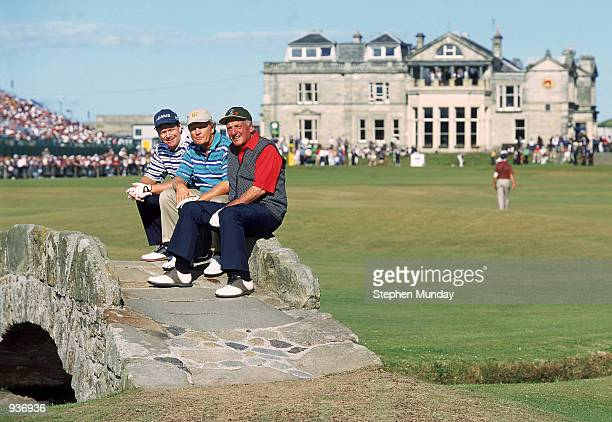 Tom Watson Jack Nicklaus and Roberto de Vicenzo on the Swilken Bridge during the Champions Challenge before the British Open on the Old Course at St...