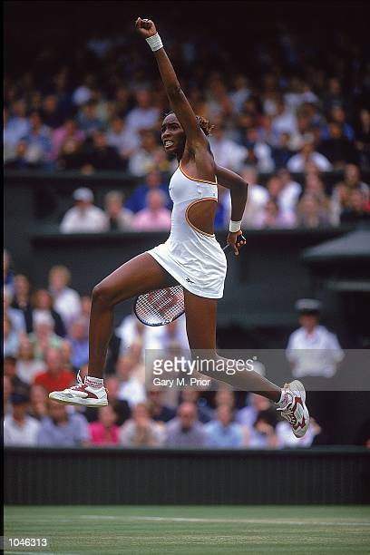 Venus Williams of the USA in action in the Quarter Finals match during Wimbledon 2000 at Wimbledon London England Mandatory Credit Gary M...