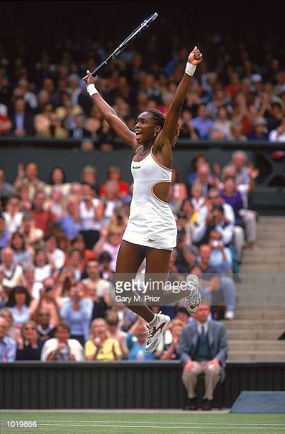 Venus Williams wins the womens single stitle at the Wimbledon Lawn Tennis Championship at the All England Lawn Tennis and Croquet Club Wimbledon...