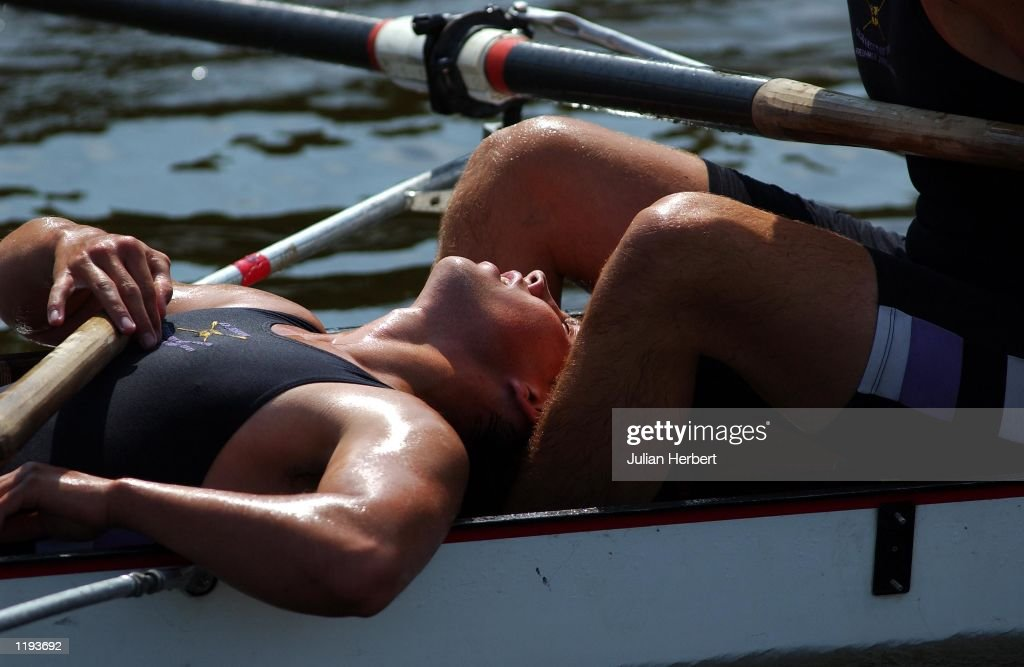 A member of The Durham University Eight that was beaten by Yale University in a heat of The Temple Challenge Cup catches his breath at Henley after...