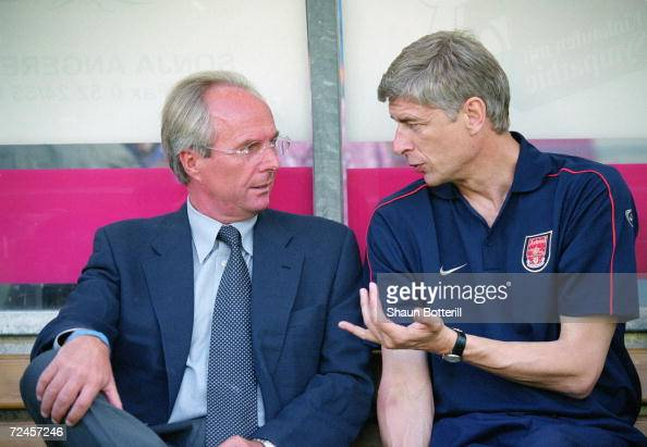 Arsenal manager Arsene Wenger chats with England coach Sven Goran Eriksson during the preseason friendly match between Arsenal and FC Kocaelispor...