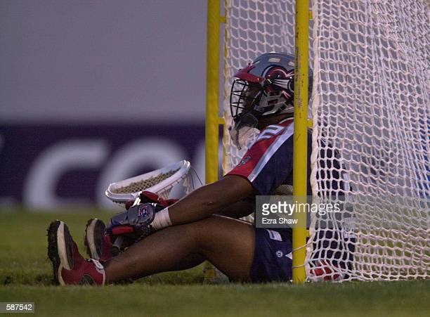 Boston Cannons goalie Bill Daye sits in the goal after allowing a goal during their game at Cawley Stadium in Hudson Massachusetts The Lizards won...