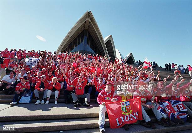 British Lions fans during the Third Test Match against Australia played at Stadium Australia in Sydney Australia Australia won the match 2923 and won...