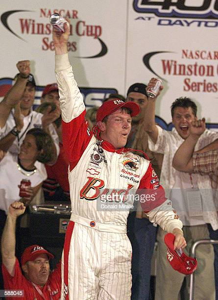 Dale Earnhardt Jr celebrates after winning the NASCAR Winston Cup Pepsi 400 at the Daytona International Speedway Daytona Florida Digital Image...