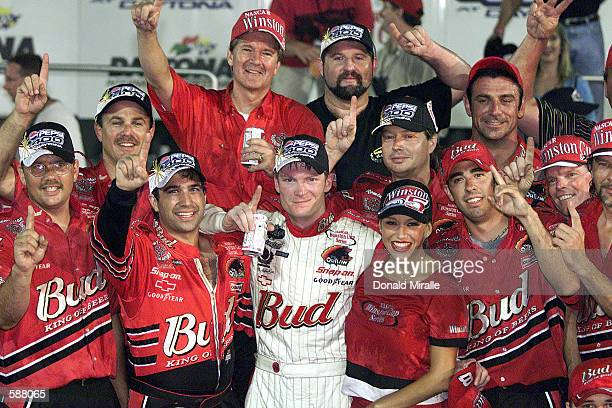 Dale Earnhardt Jr celebrates with crew after winning the NASCAR Winston Cup Pepsi 400 at the Daytona International Speedway Daytona Florida Digital...