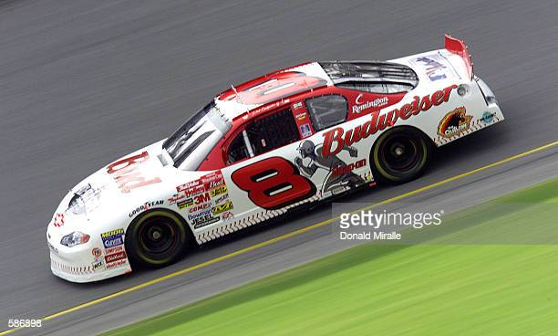 Dale Earnhardt Jr drives his Budweiser Chrevrolet during qualifying for the NASCAR Winston Cup Pepsi 400 at the Daytona International Speedway in...