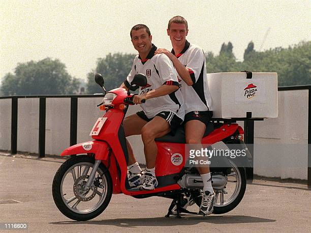Fulham players Lee Clark and John Collins at the Press Conference to announce a major new sponsorship deal between Fulham Football Club and Pizza Hut...