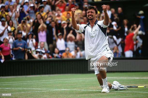 Goran Ivanisevic of Croatia celebrates winning match point during the men's final of the Wimbledon Lawn Tennis Championship held at the All England...