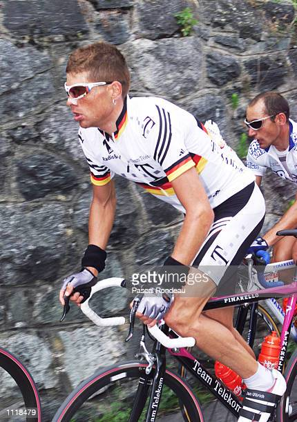 Jan Ullrich from Germany and riding for the Deutche Telekom team works his way through stage ten of the 2001 Tour de France from Aixe les Bains to...