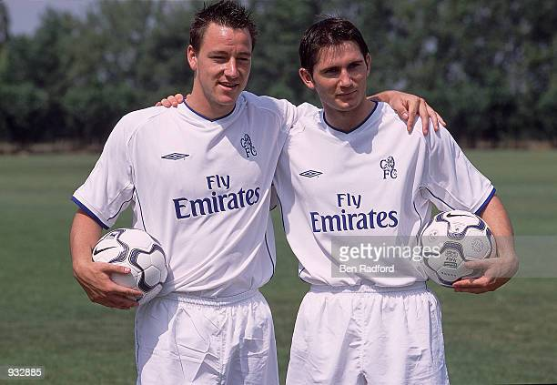 John Terry and Frank Lampard of Chelsea at the launch of the club's new away kit at Harlington Training Ground in London Mandatory Credit Ben...