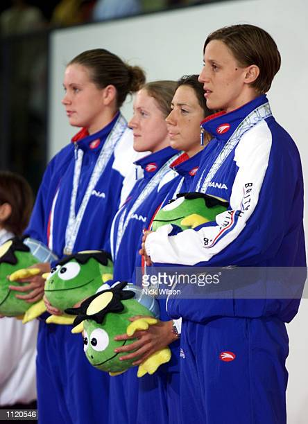 Karen Pickering Karen Legg Janine Belton and Nicole Jackson of Great Britain after getting their Gold Medals for the Womens 4x200m Freestyle Relay...