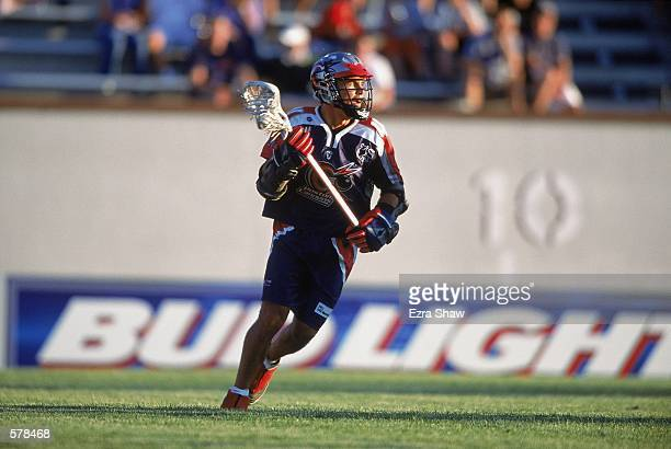 Michael Watson of the Boston Cannons moves on the field during the Major League Lacrosse game against the Long Island Lizards at Cawley Field in...
