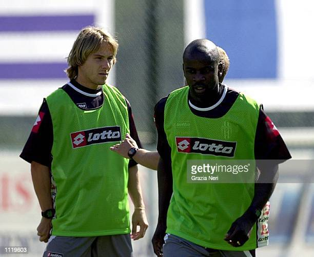 New signings Pavel Nedved and Lilian Thuram of Juventus take part in preseason training in Chatillon Italy DIGITAL IMAGE Mandatory Credit Grazia...