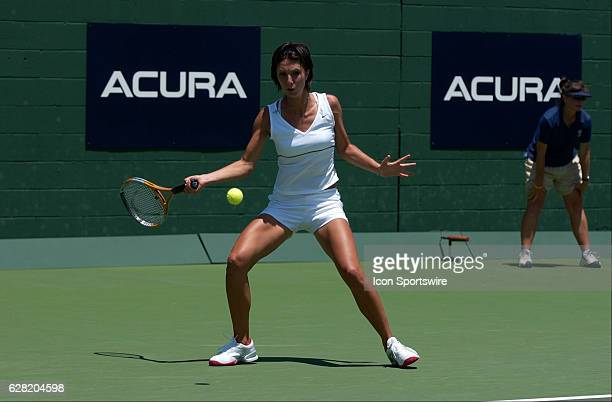 Anastasia Myskina in action during her match versus Chanda Rubin during the Acura Classic at La Costa Resort and Spa in Carlsbad CA