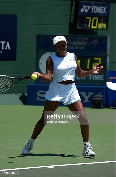 Chanda Rubin in action during her match versus Anastasia Myskina during the Acura Classic at La Costa Resort and Spa in Carlsbad CA