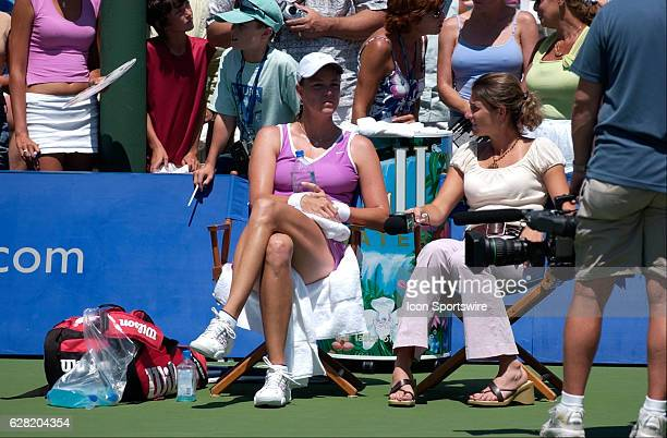 Lindsay Davenport talks with Monica Seles of the Tennis Channel during her match versus Conchita Martinez during the Acura Classic at La Costa Resort...