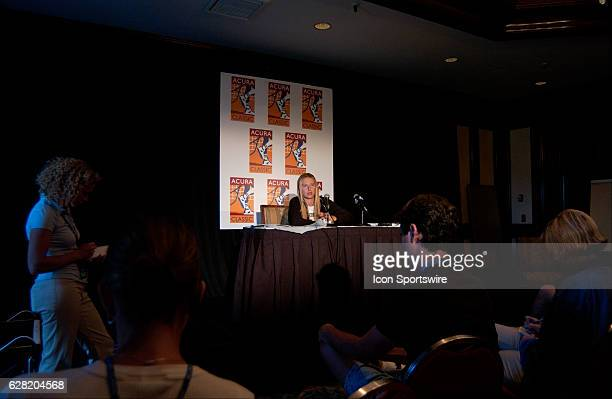 Maria Sharapova is interviewed by the media after her match versus Gisela Dulko during the Acura Classic at La Costa Resort and Spa in Carlsbad CA