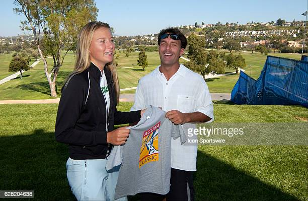 Tennis star Maria Sharapova and San Diego Chargers QB Doug Flutie who both endorse Speedminton pose together during the Acura Classic at La Costa...