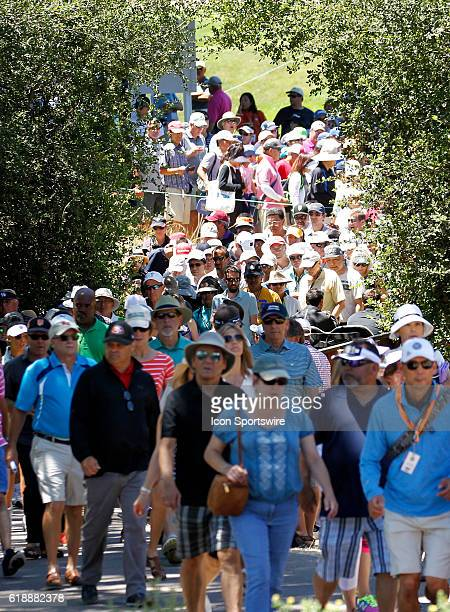 A large gallery follows the threesome of Lydia Ko Eun Hee Ji and Sung Hyun Park at the LPGAUS Women's Open at CordeValle Golf Club in San Martin CA