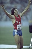 Bruce Jenner of the USA celebrates winning the Gold medal in the Decathlon event at the 1976 Olympic Games in Montreal Canada Mandatory Credit Tony...