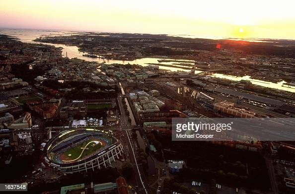 General view of the sun setting over the Ullevi Stadium during the Opening Ceremony of the World Championships in Gothenburg Sweden Mandatory Credit...