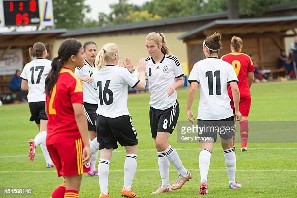 Jule Dallmann and Pauline Dallmann celebrate during the international friendly match between U17 Girl's Germany and U17 Girl's Romania on September 3...
