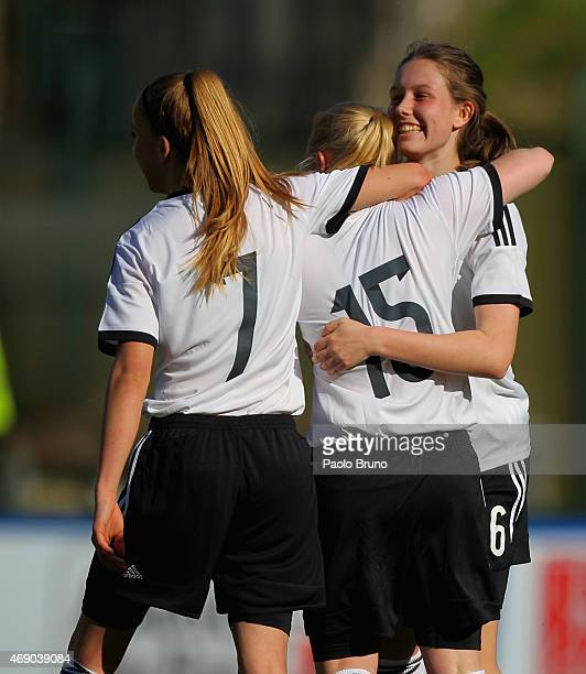 Jule Dallmann of Germany celebrates with her teammates after scoring the team's fifth goal during the UEFA Under17 women's Elite Round match between...