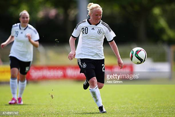 Jule Dallmann of Germany controles the ball during the U17 girls international friendly match between germany and France at EWRArena on May 20 2015...