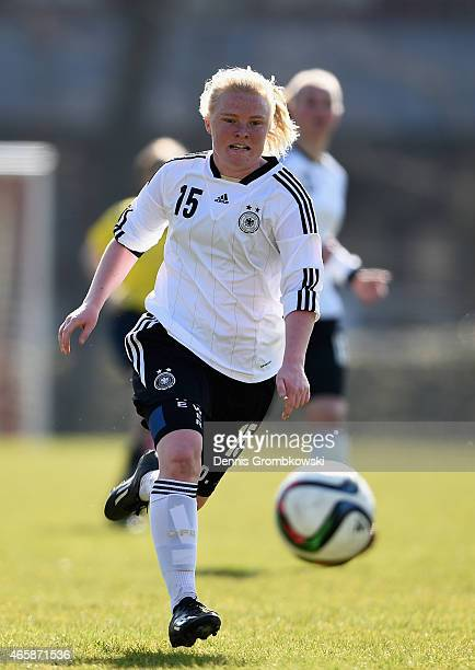 Jule Dallmann of Germany controls the ball during the U17 Girl's International Friendly match between Germany and Netherlands at Sportpark Wedau on...