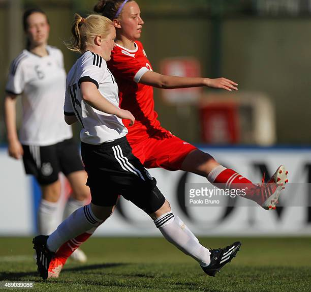 Jule Dallmann of Germany scores the team's fifth goal during the UEFA Under17 women's Elite Round match between U17 Germany and U17 Belarus at Stadio...