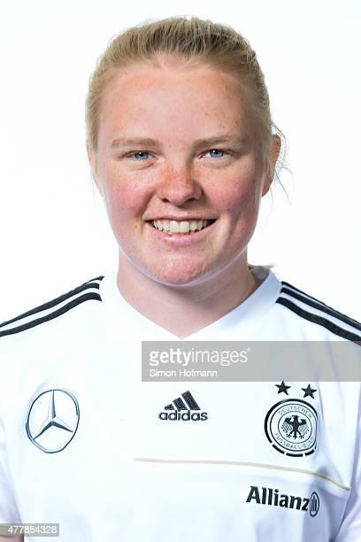 Jule Dallmann poses during Germany U17 Girl's Team Presentation on June 19 2015 in MorfeldenWalldorf Germany