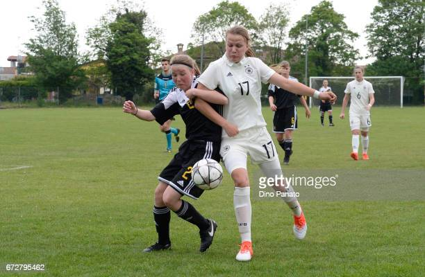 Jule Gloy of Germany women's U16 competes with Stephanie Pirotte of Belgium women's U16 during the 2nd Female Tournament 'Delle Nazioni' match...