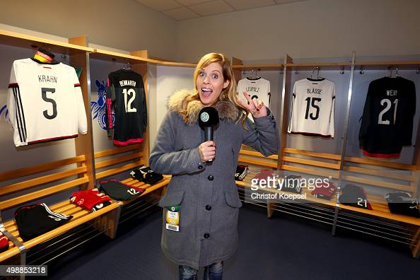 Jule Goelsdorf DFBTV moderator speaks in the player's cabin during the Meet and Greet of the Fanclub Nationalmannschaft prior to the Women's...