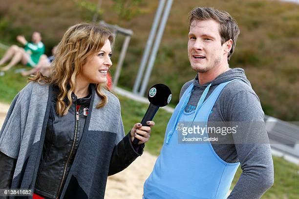Jule Goelsdorf talk to Marcel Janssen at Beach Soccer Tournament at Hansebeach on October 8 2016 in Hamburg Germany