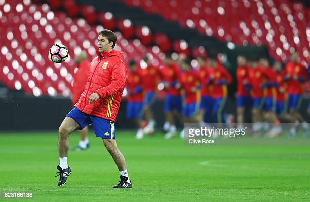 Julen Lopetegui Coach of Spain juggles the ball during a training session at Wembley Stadium on November 14 2016 in London England