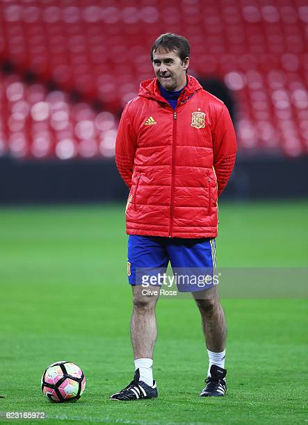 Julen Lopetegui Coach of Spain looks on during a training session at Wembley Stadium on November 14 2016 in London England