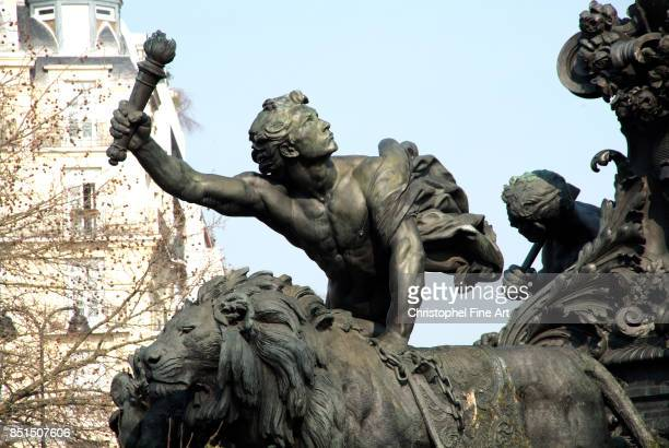 Jules Aime Dalou Chariot of the Nation Triumph of the Republic Symbol of Universal Suffrage Bronze Standing on a chariot pulled by two lions symbol...