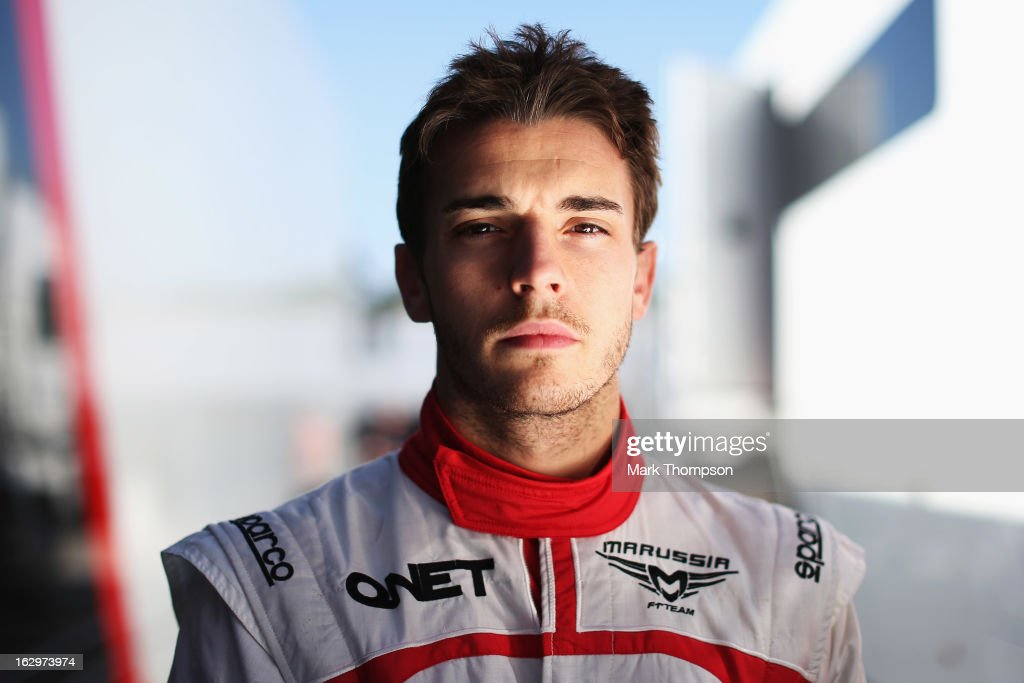 <a gi-track='captionPersonalityLinkClicked' href=/galleries/search?phrase=Jules+Bianchi&family=editorial&specificpeople=3942007 ng-click='$event.stopPropagation()'>Jules Bianchi</a> of France and Marussia poses for a photograph during day three of Formula One winter testing at the Circuit de Catalunya on March 2, 2013 in Montmelo, Spain.