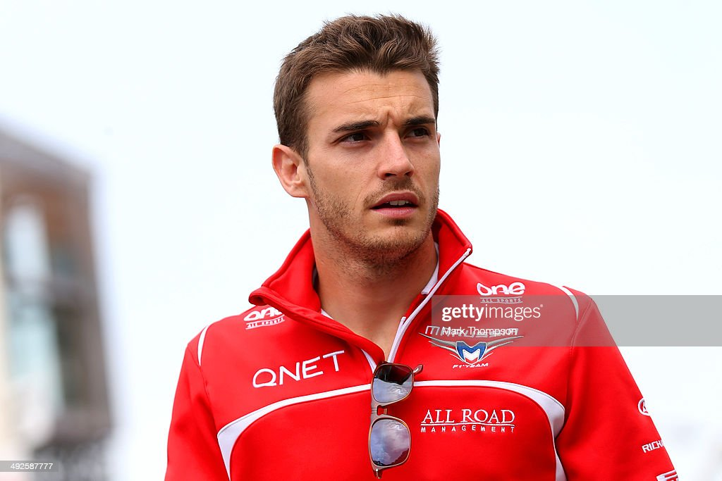 <a gi-track='captionPersonalityLinkClicked' href=/galleries/search?phrase=Jules+Bianchi&family=editorial&specificpeople=3942007 ng-click='$event.stopPropagation()'>Jules Bianchi</a> of France and Marussia walks across the paddock ahead of the Monaco Formula One Grand Prix at Circuit de Monaco on May 21, 2014 in Monte-Carlo, Monaco.