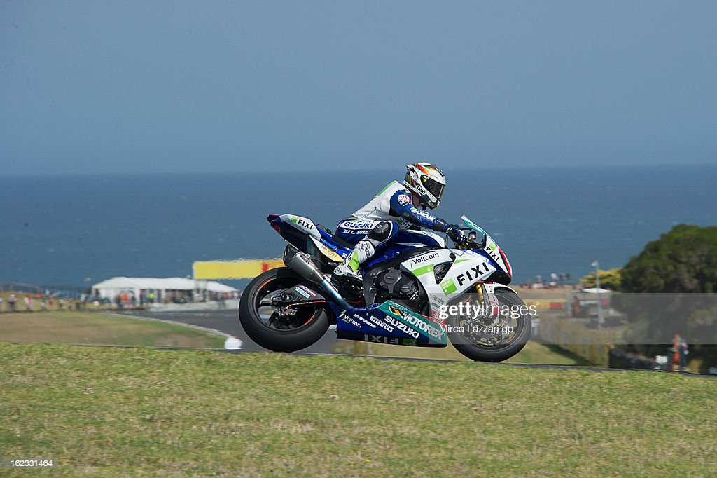 Jules Cluzel of France and Fixi Crescent Suzuki heads down a straight during qualifying practice ahead of the World Superbikes at Phillip Island Grand Prix Circuit on February 22, 2013 in Phillip Island, Australia.