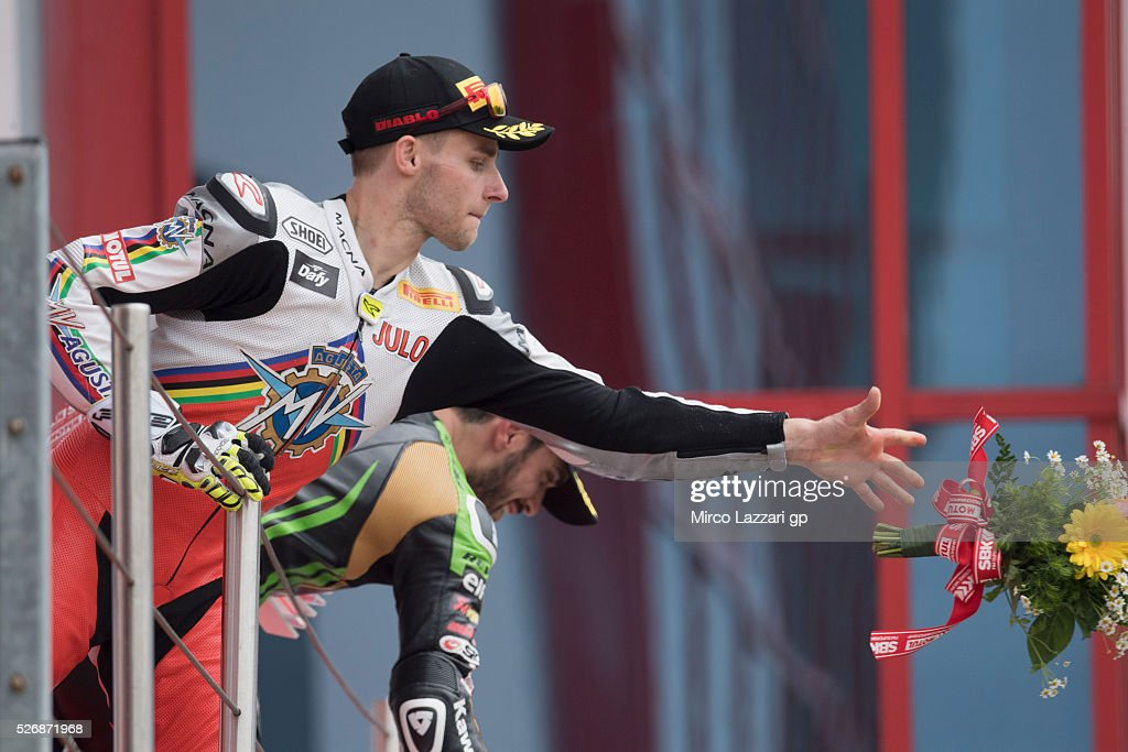 Jules Cluzel of France and MV AGUSTA REPARTO CORSE celebrates the second place on the podium at the end of the Supersport race during the World Superbikes - Race at Enzo & Dino Ferrari Circuit on May 10, 2015 in Imola, Italy.