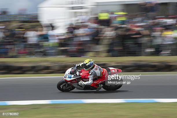 Jules Cluzel of France and MV AGUSTA REPARTO CORSE rounds the bend during the Supersport race of round one of the 2016 World Superbike Championship...
