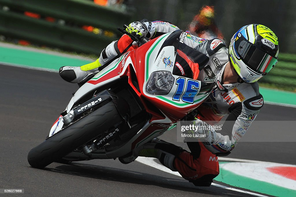 Jules Cluzel of France and MV AGUSTA REPARTO CORSE rounds the bend during the World Superbikes - Practice at Enzo & Dino Ferrari Circuit on April 29, 2016 in Imola, Italy.