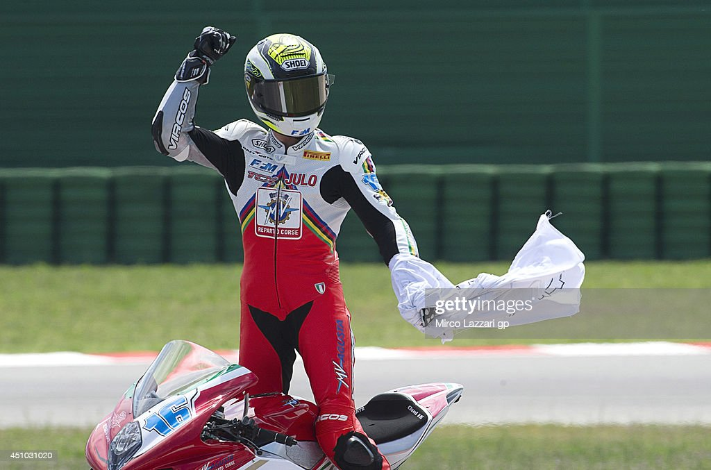 Jules Cluzel of France and MV Augusta RC-Yakhinich Motorsport celebrates the victory at the end of the Supersport race during the FIM Superbike World Championship - Race at Misano World Circuit on June 22, 2014 in Misano Adriatico, Italy.